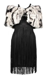 FUR BOLERO CAPE & BAND TASSELS DRESS