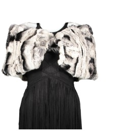 FUR STOLA CAPE | GREY BLACK