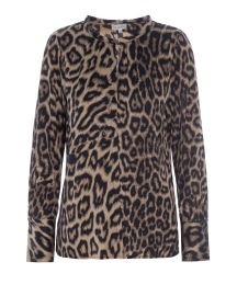 DEA KUDIBAL SEATTLE STRETCH SILK SHIRT | LEOPARD