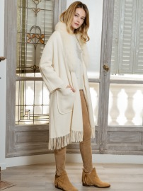 PARIS CASHMERE CARDIGAN WITH FOX AND TASSELS | WHITE