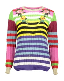 PARIS MULTI COLOUR CREW FRONT WITH FLOWER DETAIL AND STRIPES