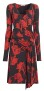 ROBERTO CAVALLI WRAP DETAIL MIDI DRESS | RED TULIP