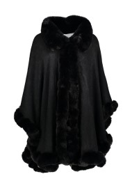CAPE WITH FAUX FUR TRIM | BLACK