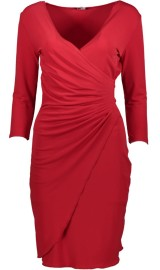 PARIS WRAP V- NECK DRESS | RED