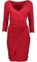 PARIS WRAP V- NECK DRESS   RED
