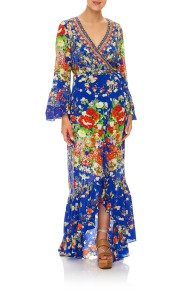 CAMILLA | PLAYING KOI LONG SLEEVE WRAP DRESS