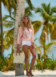 MELISSA ODABASH SIMONA LACE UP EMBROIDERED BLOUSE | PEACH