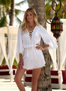 MELISSA ODABASH KIAH WHITE LACE-UP EMBROIDERED SHORT DRESS