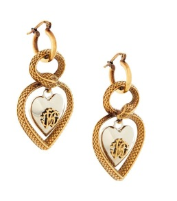 ROBERTO CAVALLI RC LOGO HEART DROP EARRINGS