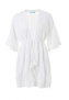 MELISSA ODABASH JADE WHITE V-NECK 3/4 SLEEVE BEACH DRESS