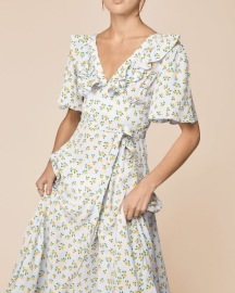 BY TIMO SUNFLOWER OPENBACK MIDI WRAP DRESS