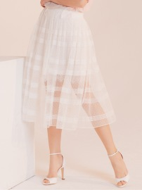 PARIS TULLE SKIRT MIDI DENTILLE| WHITE