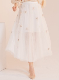PARIS TULLE BRODERIE SKIRT | WHITE