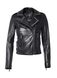 NOUR HAMMOUR VINYL WHIPSTITCHED LEATHER JACKET | BLACK