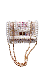 PARIS CHANEL INSPIRED BAG WITH GOLD CHAIN | WHITE MULTI