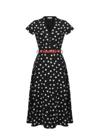 RINASCIMENTO POLKA DOT BELTED DRESS