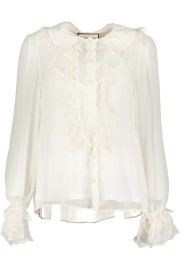 PARIS SILK BLOUSE SOFT RUFFLE | WHITE