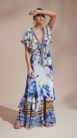 CAMILLA |TIE FRONT MAXI WITH SPLIT ST GERMAINE PRINT