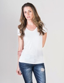 MAJESTIC FILATURES LUX COTTON V-NECK T-SHIRT |WHITE