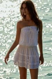 MELISSA ODABASH FRU WHITE TEXTURED BANDEAU SHORT FRILL BEACH DRESS