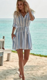 MELISSA ODABASH AMELIA BLUE STRIPE SHORT BELTED SHIRT DRESS