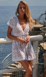 MELISSA ODABASH ADELINA WHITE EMBROIDERED SHORT TIE SIDE BEACH DRESS