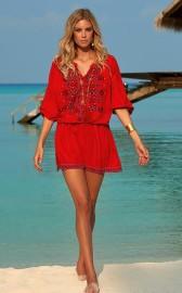 MELISSA ODABASH NADJA RED EMBROIDERED SHORT DRESS