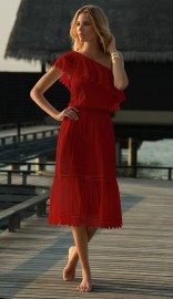 MELISSA ODABASH JO RED ONE SHOULDER EMBROIDERED FRILL MIDI DRESS