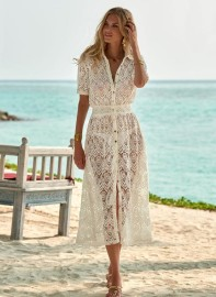 MELISSA ODABASH APRIL CREAM LACE MIDI BUTTON DOWN SHIRT DRESS