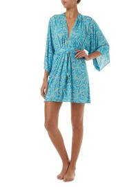 MELISSA ODABASH ELLE BLUE LEAF BELTED SHORT DRESS