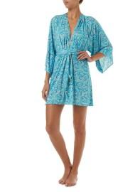 MELISSA ODABASH ELLE BLUE LEAF BELTED SHORT DRESS