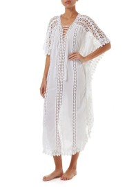 MELISSA ODABASH NICKI WHITE LACE EMBROIDERED V NECK MAXI KAFTAN