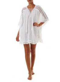 MELISSA ODABASH CINDY WHITE LACE EMBROIDERED V NECK SHORT KAFTAN