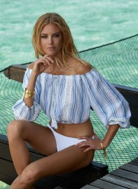 MELISSA ODABASH AZURA BLUE STRIPE OFF THE SHOULDER TOP