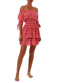 MELISSA ODABASH CAMILLA RED IKAT OFF THE SHOULDER SHORT DRESS
