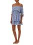 MELISSA ODABASH CAMILLA BLUE FAN OFF THE SHOULDER SHORT DRESS