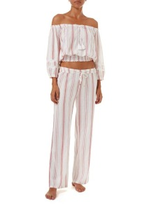MELISSA ODABASH AZURA RED STRIPE OFF THE SHOULDER TOP