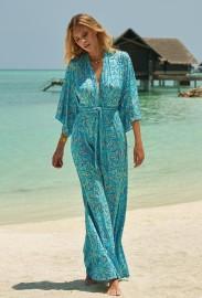 MELISSA ODABASH ANNAELLE BLUE LEAF LONG SLEEVE BELTED MAXI DRESS