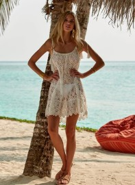 MELISSA ODABASH ANA CREAM LACE SHORT TIE-SHOULDER BEACH DRESS