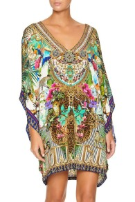 CAMILLA BAT SLEEVE DRESS | CHAMPAGNE COAST PRINT