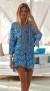 MELISSA ODABASH LOTTIE FRESCO LACE UP SHORT DRESS/KAFTAN