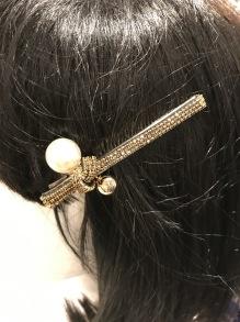 GOLDEN STRASS PEARL HAIR CLIP