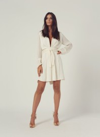 MELISSA ODABASH | BLOUSON SLEEVE MINI DRESS CREAM