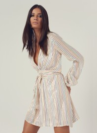 MELISSA ODABASH | BLOUSON SLEEVE MINI DRESS WHITE STRIPED