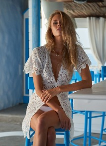 MELISSA ODABASH BARRIE WHITE EMBROIDERED LACE SHORT BUTTON-DOWN COVER-UP