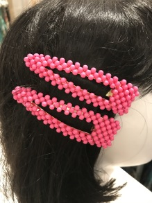 Fushia  beaded hairclip