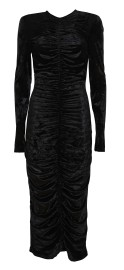 SARA BATTAGLIA VELVET DRAPING LONGUETTE DRESS