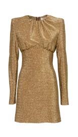 SARA BATTAGLIA GOLD LUREX SCULPTURED DRESS