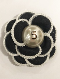 CHANEL INSPIRED BROCHE | BLACK 8 CM