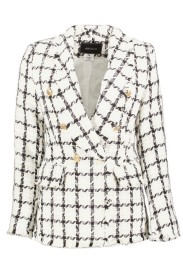 PARIS PICKED TWEED LONG BLAZER | WHITE & BLACK